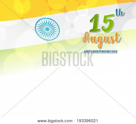 Happy Indian Independence Day celebration card on flag color greeting background