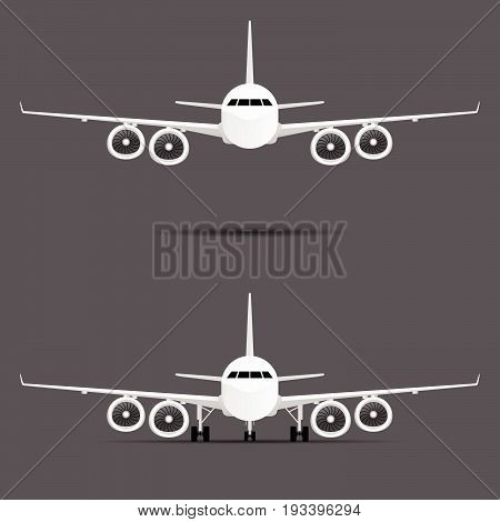 Airplane With Four Motors Set Illustration