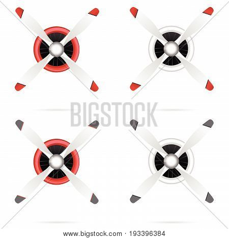 Motor With Propeller In Red And White Set Illustration