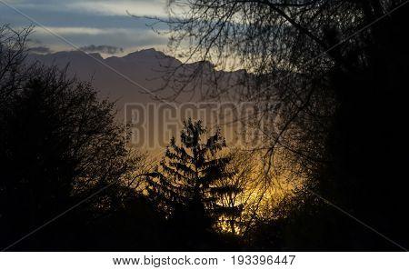 Beautiful Sunset Glowing Beneath An Approaching Stormfront