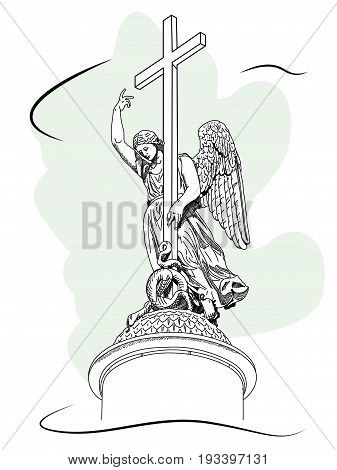 Alexander Column on Palace Square in Saint Petersburg Russia. Sketch by hand. Vector illustration.