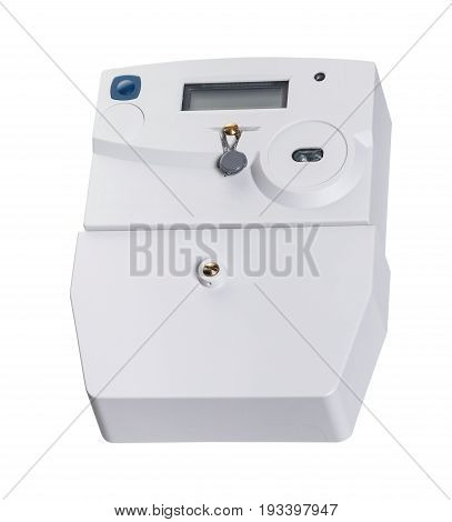 new electricity meter isolated on a white background