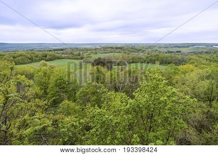 High View Of Sweeping Landscape, Agricultural And Rural Region
