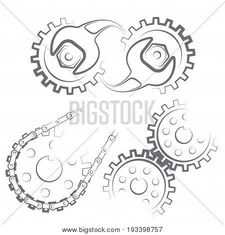 Illustration consisting of three images of gears in the form of a symbol