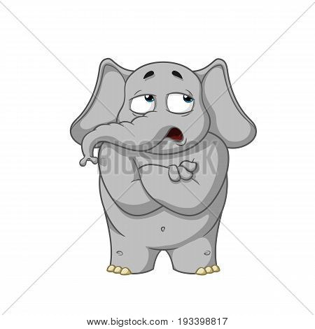 Elephant. Character. He doubts. Doubt. Hands in the castle. Big collection of isolated elephants. Vector, cartoon