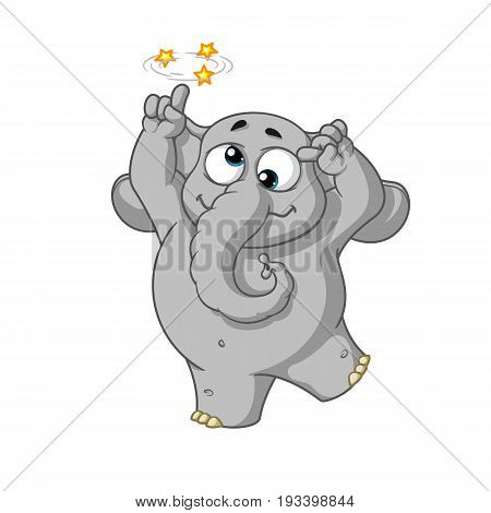Elephant. Character. Gone crazy. Insane. Big collection of isolated elephants. Vector, cartoon