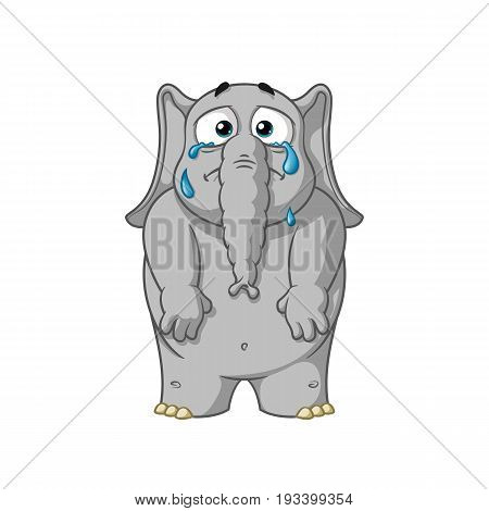 Elephant. Character. Cries, throwing tears, lowers his hands. Big collection of isolated elephants. Vector, cartoon