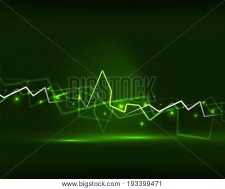 Neon green lightning background template