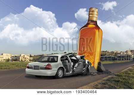 Don`t drink and drive Bottle popping from the ground in middle of the street hit by a car representing car accidents from drinking alcohol