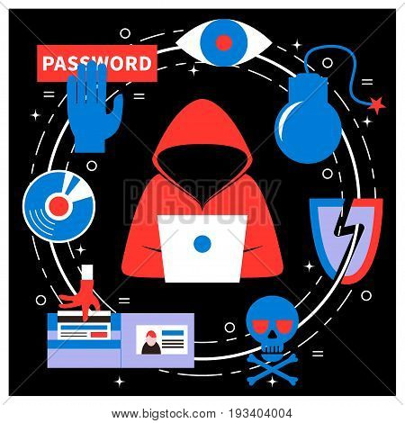 Hacking and cyber crime - vector illustration with icons of gadgets and hacker's activities. Flat style. For web and paper ads. Hacker attack, spam, phishing concept.