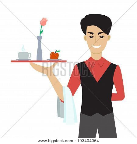 Vector illustration of young caucasian man - a waiter or a steward - holding a tray with cup of cofffee or tea, flower and an apple. Flat  cartoon character. Breakfast in the bed.