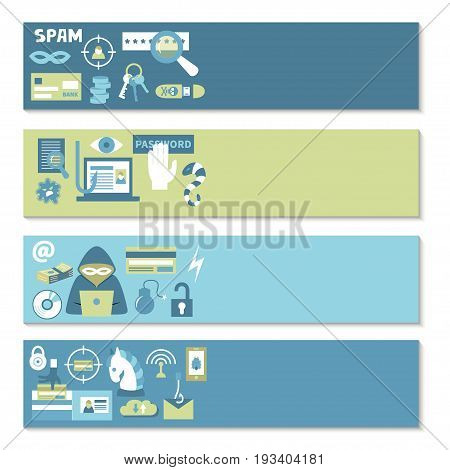 Hacking and cyber crime - horizontal vector banner templates with icons of gadgets and hacker's activities and place for your text. Flat style. For web and paper ads. Hacker attack illustration