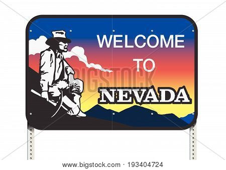 Vector illustration of the Nevada welcome road sign