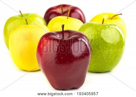 Ripe Red, Yellow And Green Apples On White Background