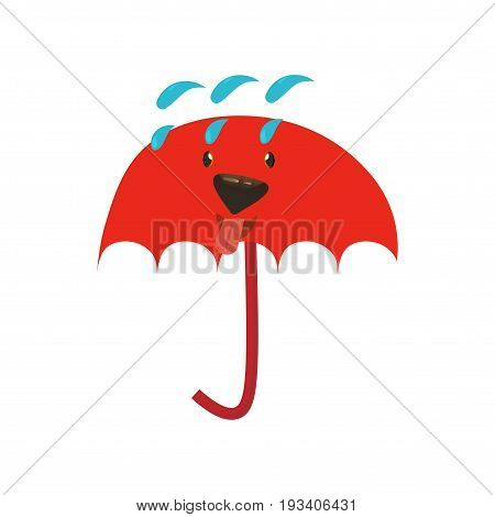 Umbrella character with a doggy face. Cartoon styled illustration of a umbrella mascot with a face of a dog.