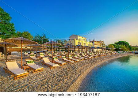 Beautiful sunrise over the famous beach Nikiana in Lefkada island, Greece