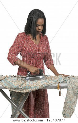 Beautiful woman holding a vintage electric iron