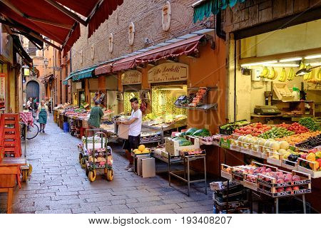 Bologna Italy- July 1 2014: Grocery stores in the