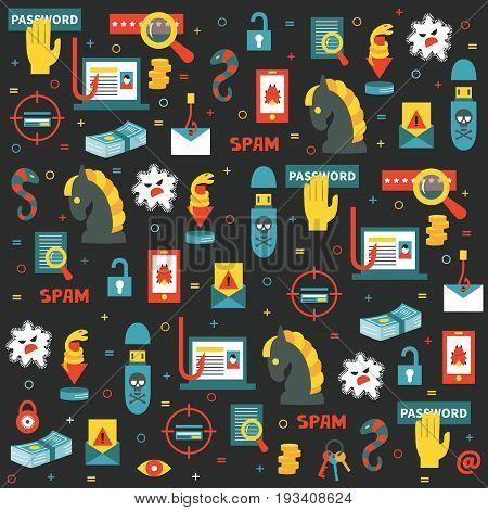 Vector seamless pattern with the icons for hacking, computer security and hacker's activities. Dark background. Flat style. Great choice for wallpaper, backdrops and textile.