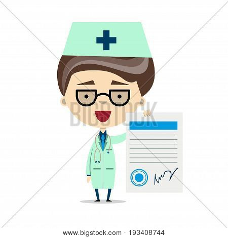 Funny cartoon doctor or pharmacist holding the prescription paper. Vector illustration, flat design. Healthcare, medical, prescribing treatment or legal drug store concept.