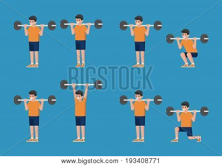 Set of man in bodybuilding and weight training poses. Standing Barbell Calf Raise. Standing Barbell Shoulder Press. Barbell Squat. Barbell Lunge.