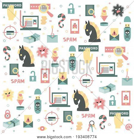 Vector seamless pattern with the icons for hacking, computer security and hacker's activities. White background. Flat style. Great choice for wallpaper, backdrops and textile.