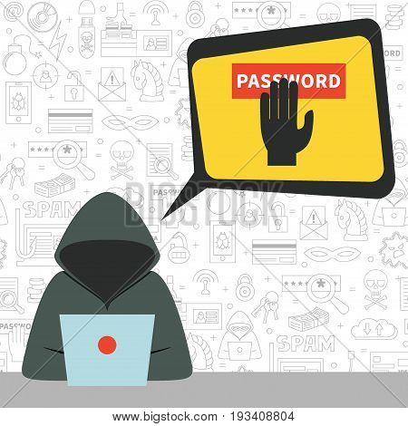 Hacker wearing hoodie with speech bubble and criminal thoughts. Vector illustration, flat style. Concept for hacking, intruding, crime figure, password stealing.