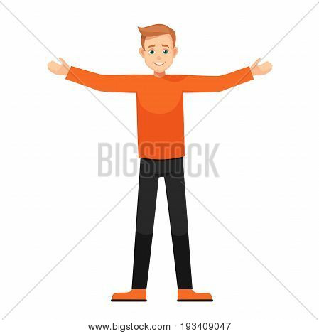 boy with open arms.character in various poses: wide-open arms, welcoming posture, demonstrates something. vector illustration with isolated object.