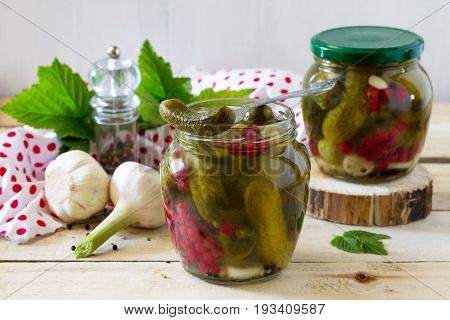 Marinated Cucumbers Gherkins. Marinated Pickled Cucumbers With Red Currant Berries And Spices On The