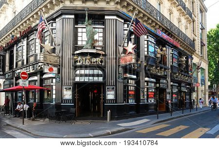 Paris, France-JUNE14, 2017 : The restaurant American Dream located 21 rue Daunou in 2th arrondissement of Paris, near Opera district.