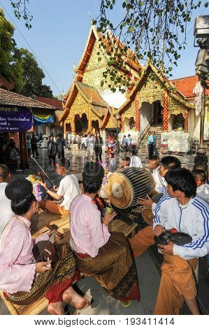 Chiang Mai Thailand - 8 January 2016: musical group that plays at the Wat Phra That Doi Suthep temple of Chiang Mai Thailand
