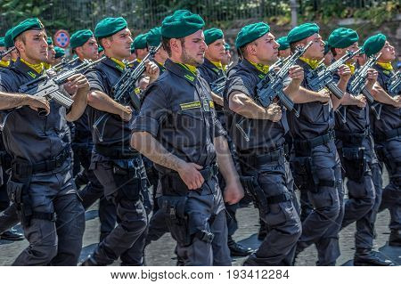 ROME ITALY - JUNE 2 2017: Military parade at Italian National Day. Soldiers of anti-terrorist troops in formation. Between Piazza Venezia and Teatro di Marcello.