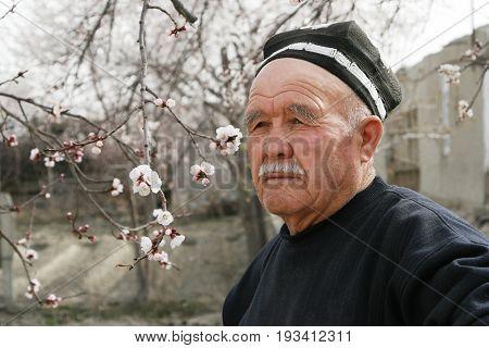 Bukhara Uzbekistan - March 08 2009: Portrait of unidentified Uzbek man in the national hat skullcap