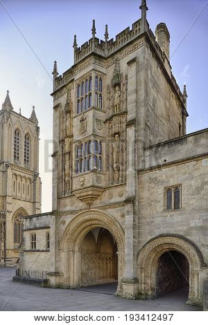 Abbey Gateway or Abbots Gatehouse Bristol Cathedral College Green Bristol