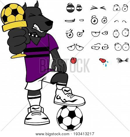 sporty dog soccer cartoon set expressions in vector format very easy to edit