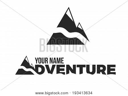 Mountain logo across with river on white background