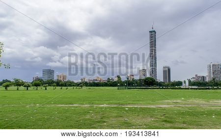 June 29,2017, kolkata, West bengal, India. A cityscape of High rise buildings and greenery of Kolkata.