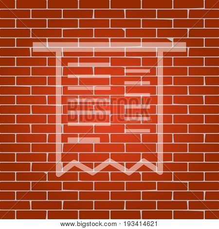 Paying bills concept. Payment of utility, bank, restaurant and other bills sign illustration. Vector. Whitish icon on brick wall as background.