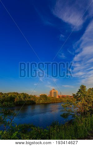 Wisconsin River with Wausau skyline in the background