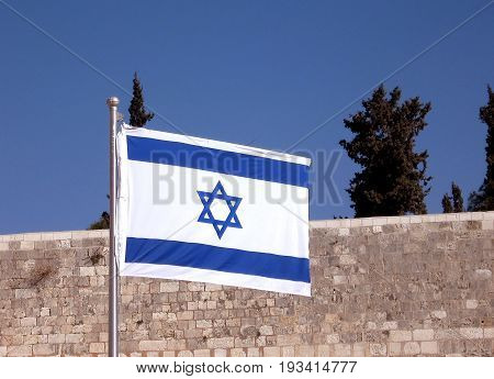 The Jewish flag fluttering on the JerusalemIsrael