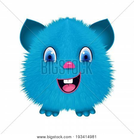 Fluffy toy monster sticker. Fur toy with smile.