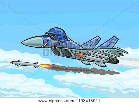Cartoon Su fighter jet flying in the clouds shoots a missile.