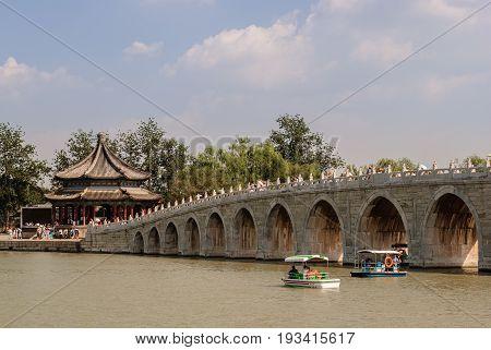 The seventeen-arch bridge in the Kunming Lake in Beijing
