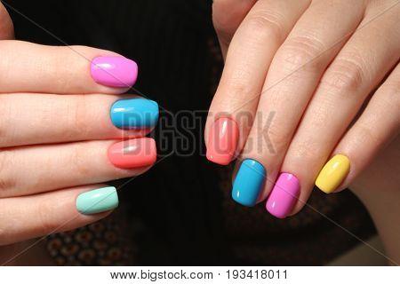Bright Multi-colored Design Of Manicure