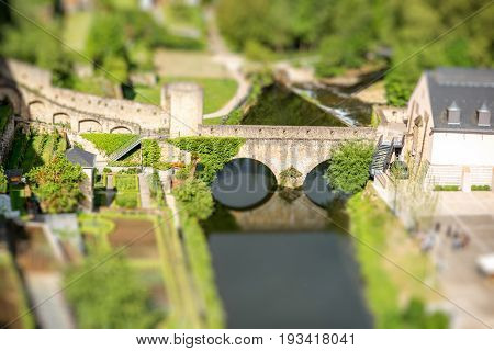 Top view on the Stierchen bridge at the old town of Luxembourg city. Tilt-shift image technic