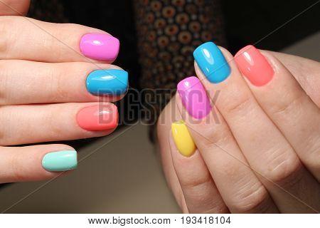 Bright Multicolored Nail Design