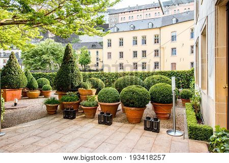 Beautiful garden in the old town of Luxembourg city