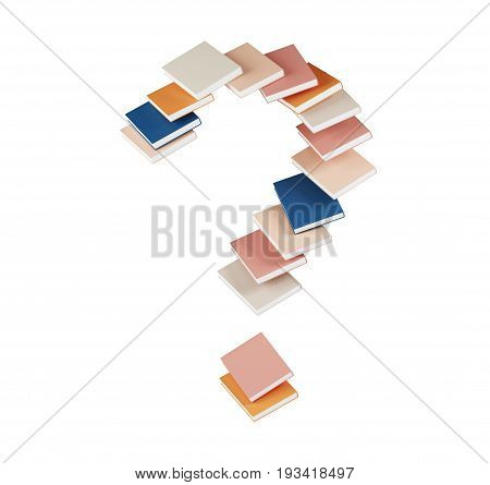 Blue orange pink beige book forming a large question mark. Concept of education reading and finding answers. 3d rendering