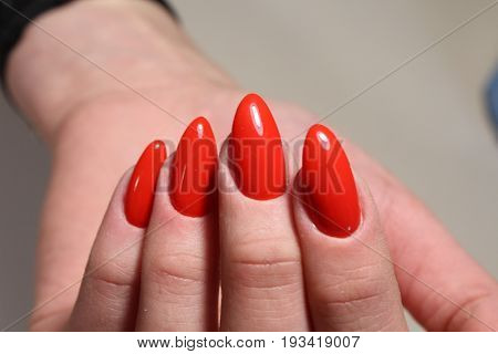 Manicure With Red Nails