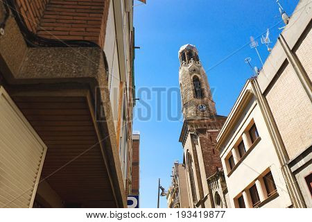 Barcelona Spain Europe - view of the tower bell of a church in the city center